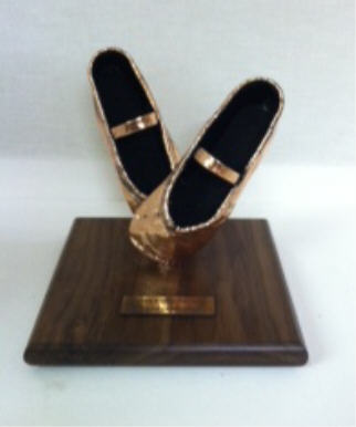 Pair of Ballet Slippers - Adult Shoes, Bronzed and Mounted
