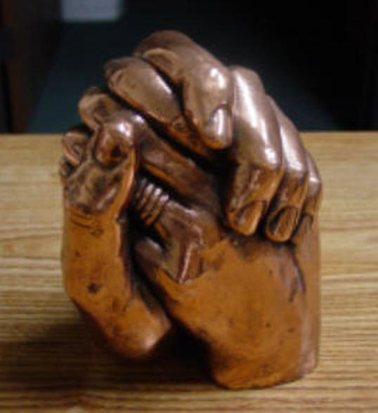 Clasped Hands Cast - Bronzed