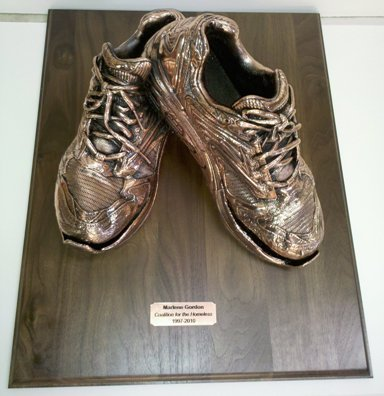 Adult Shoes - Bronzed and mounted on Walnut base
