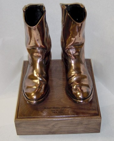Pair of Cowboy Boots - Bronzed and mounted on urn