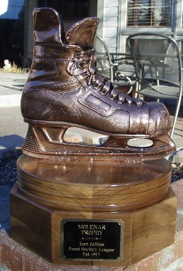 Bronzed Ice Skate - Mounted on Trophy