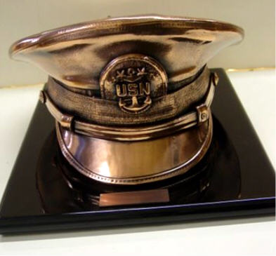 Bronze Military Covers - Navy Lid on Black Lazquer Base